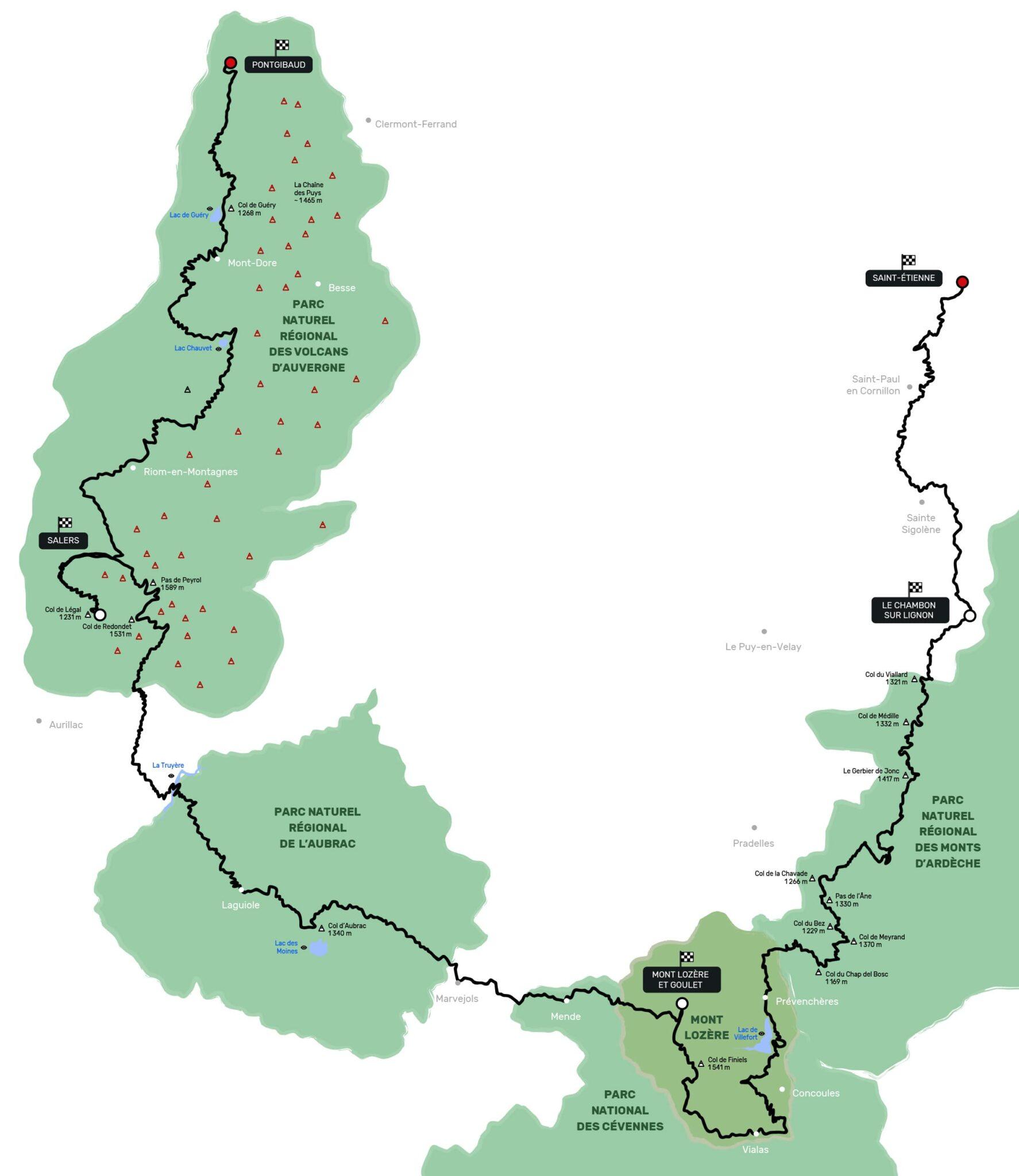 tracé itinéraire carte roadtrip voitures sportives massif central cantal aubrac aveyron cévennes auvergne volcans lozère ardèche puy Gotrip