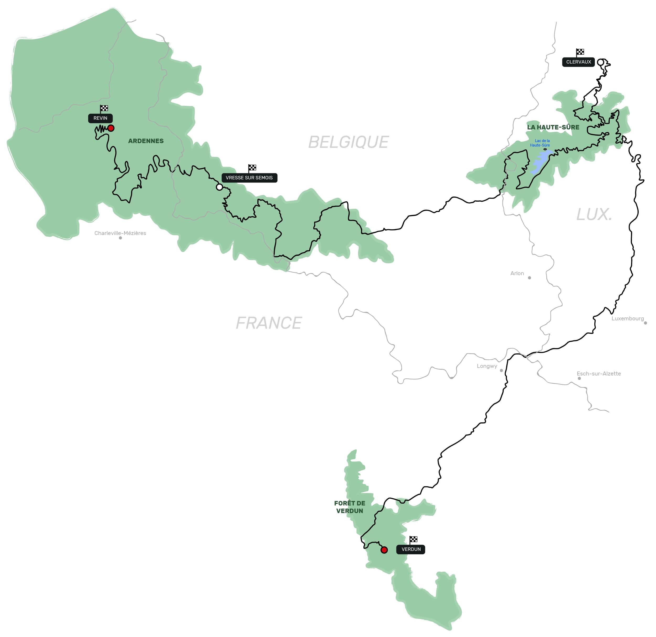 tracé itinéraire carte roadtrip gotrip voitures sportives luxembourg vallée sûre Luxembourg Belgique Ardennes